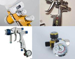Стрелочные и цифровые манометры пневматических краскопультов