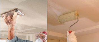 Финальная часть подготовки потолка. выравнивание затирочной сеткой и грунтование.