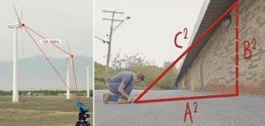 Определение гипотенузы лазерным дальномером из одной точки