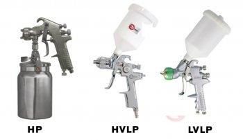 Основные типы распыления пневматических краскопультов